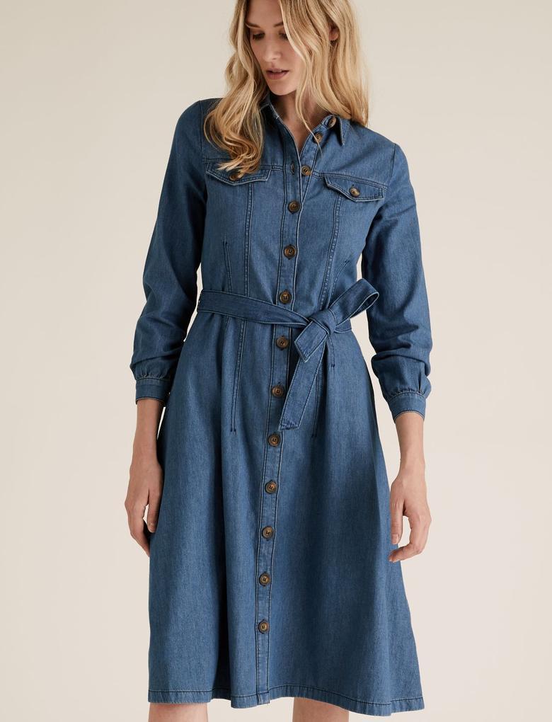 Kadın Lacivert Midi Gömlek Elbise