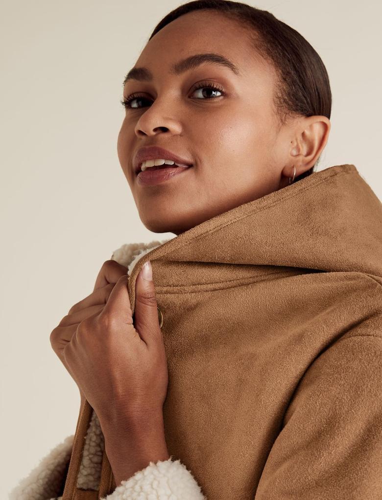 Kadın Kahverengi Suni Kürk Astarlı Kaban