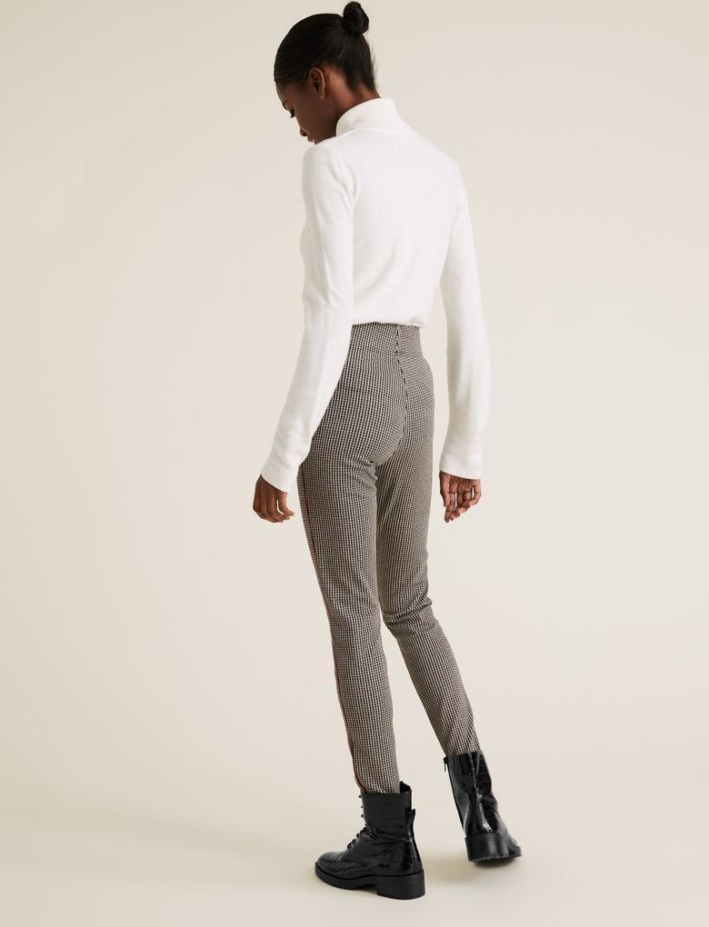 Kadın Siyah Şerit Detaylı Legging Pantolon
