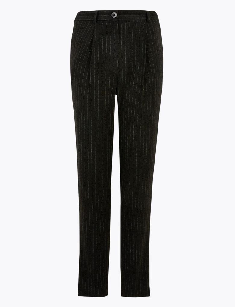 Kadın Gri Çizgili Tapered Ankle Grazer Pantolon
