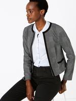 Kadın Siyah Jarse Ekose Ceket