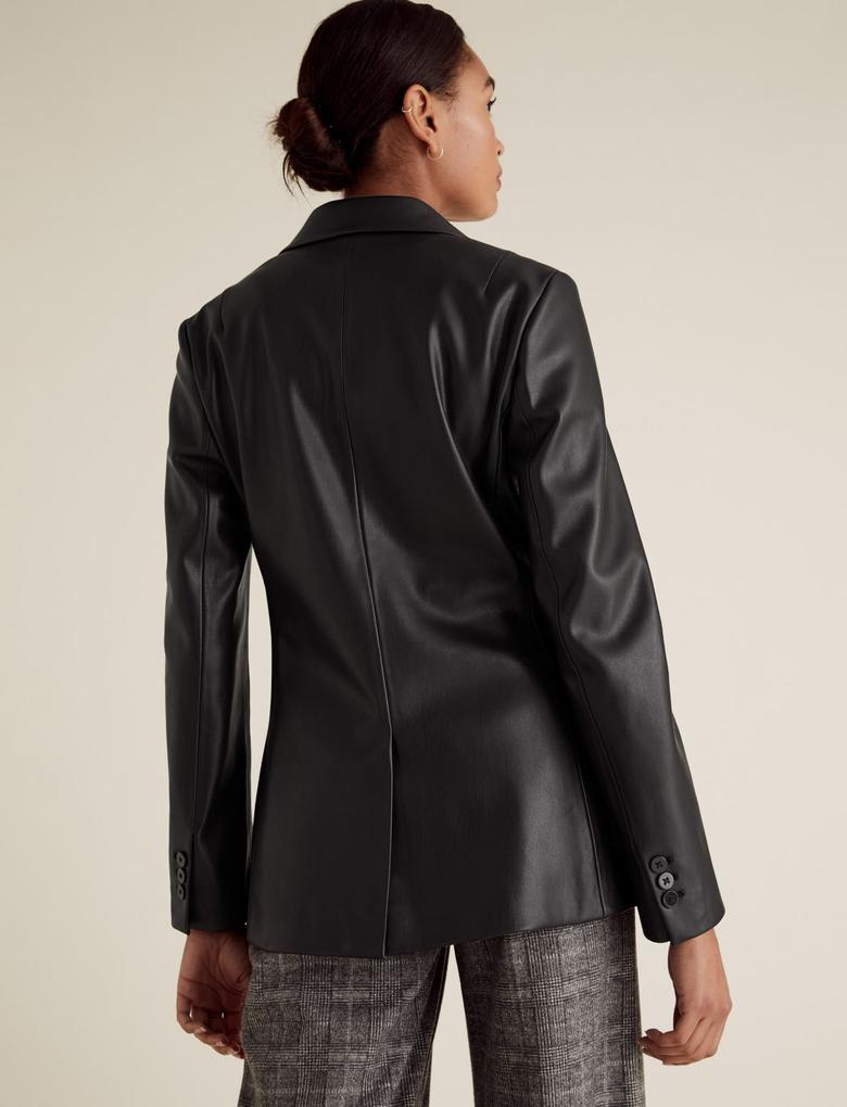 Kadın Siyah Suni Deri Blazer Ceket