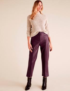 Kadın Bordo Evie Straight Leg Suni Deri Pantolon