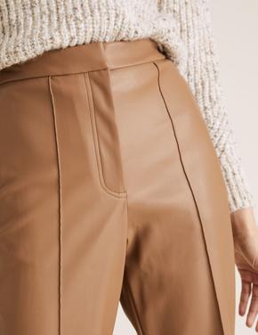 Kadın Kahverengi Evie Straight Leg Suni Deri Pantolon