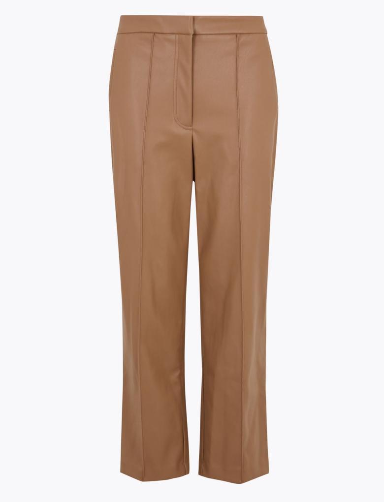 Kadın Kahverengi Suni Deri 7/8 Straight Leg Pantolon