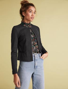 Kadın Siyah Jarse Slim Fit Ceket