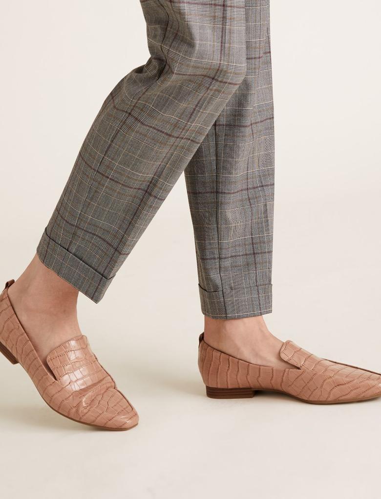 Kadın Gri Ekose Tapered Pantolon