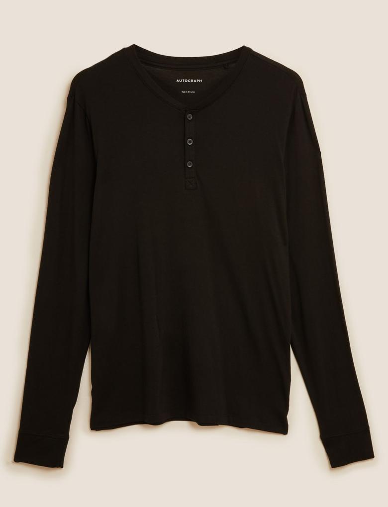 Erkek Siyah Premium Pamuklu Henley Pijama Üstü
