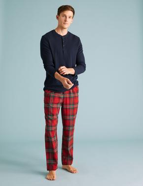 Erkek Kırmızı Saf Pamuklu Ekose Pijama Altı