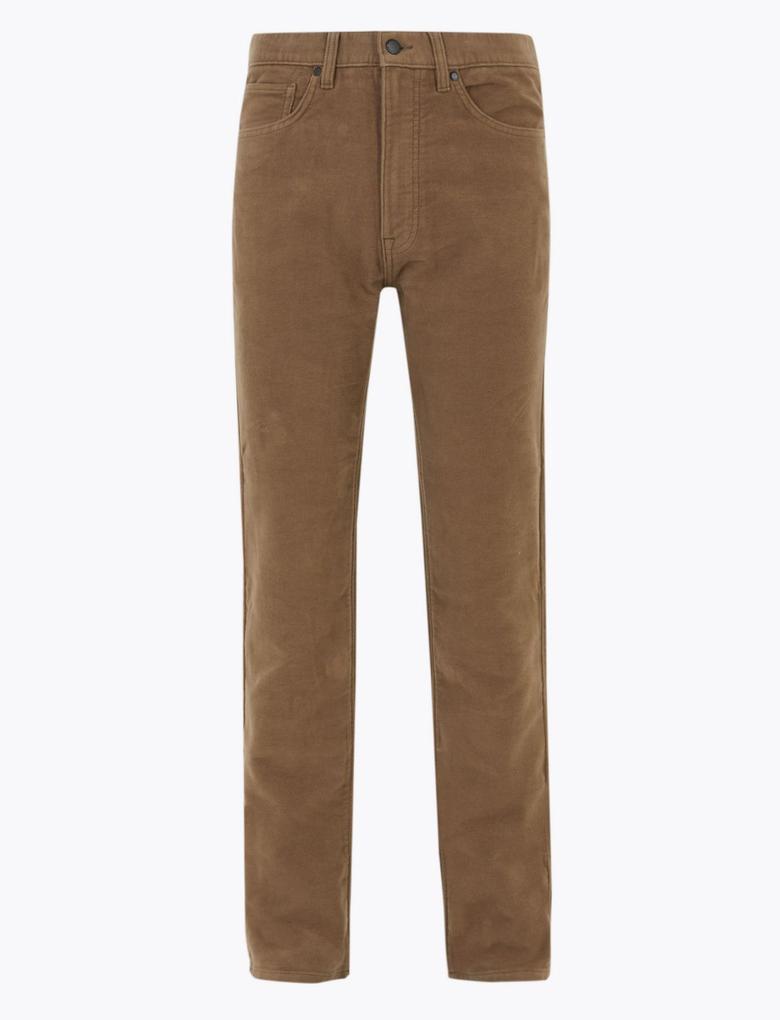 Kahverengi Regular Fit Italian Moleskin Pantolon