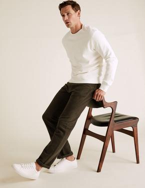 Yeşil Regular Fit Italian Moleskin Pantolon