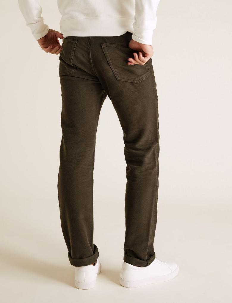 Yeşil Regular Fit Italian Moleskin Pantolon