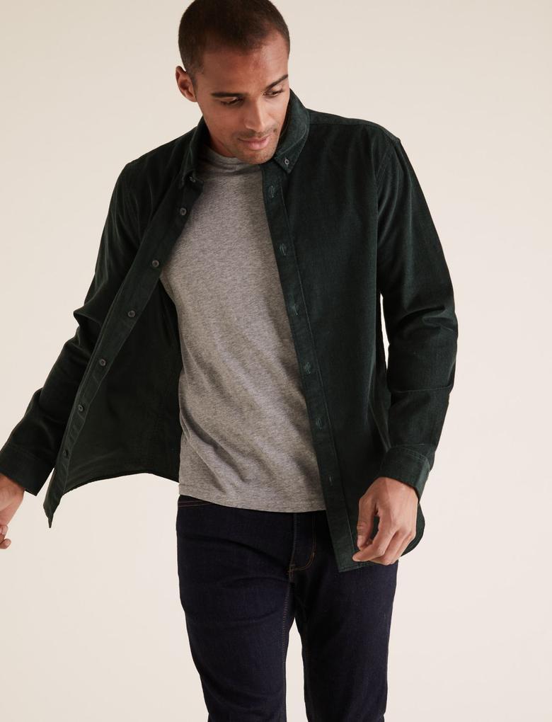 Erkek Yeşil Saf Pamuklu Kadife  Gömlek