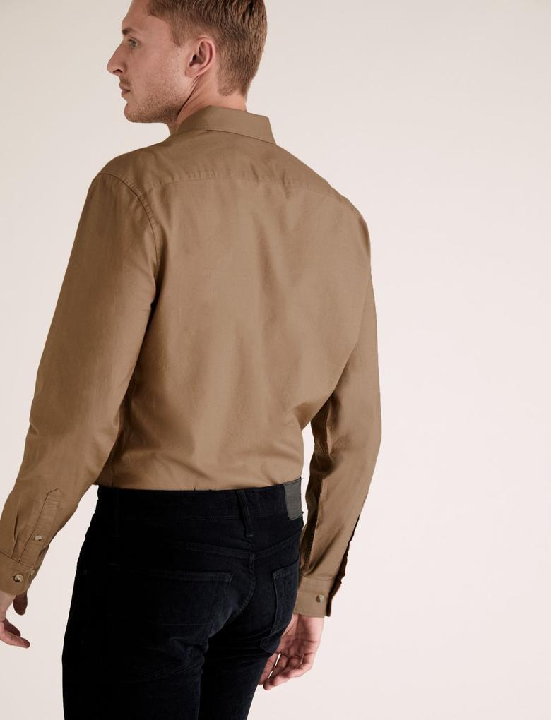 Erkek Kahverengi Saf Pamuklu Oxford Gömlek