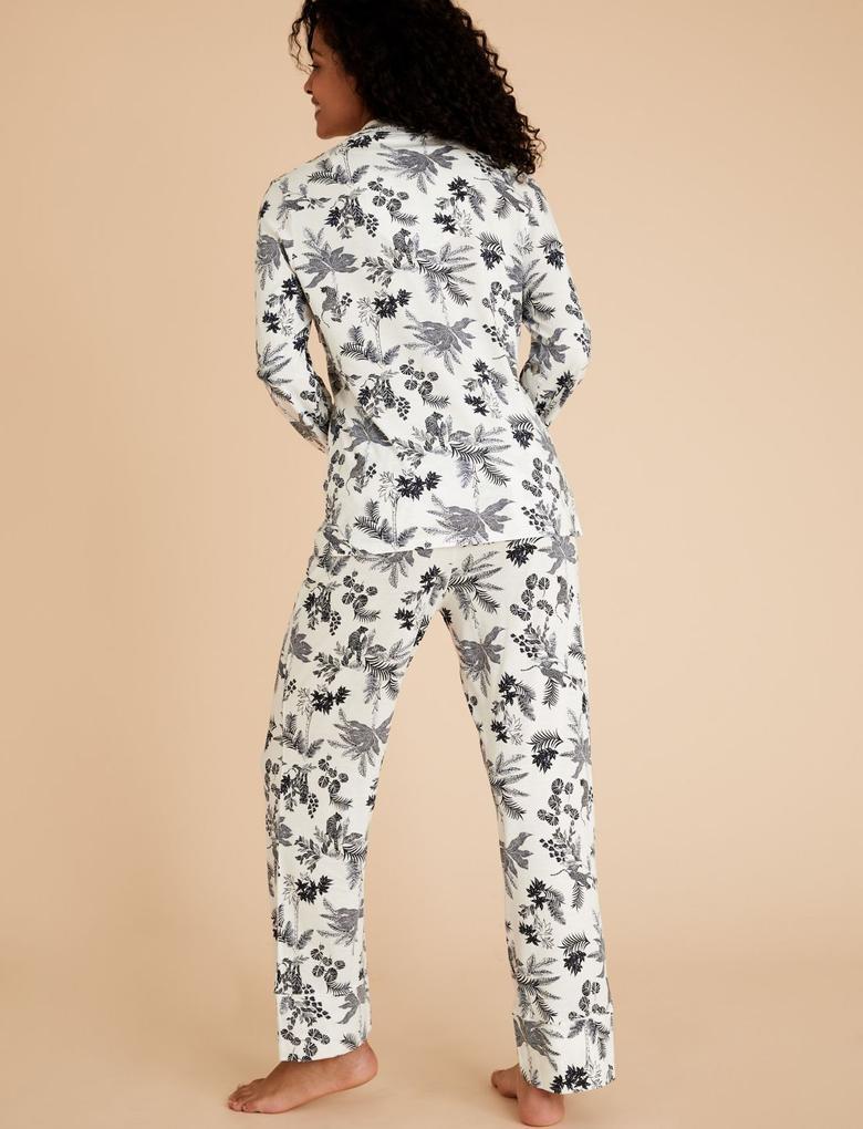 Kadın Beyaz Modal Karışımlı Desenli Pijama Takımı