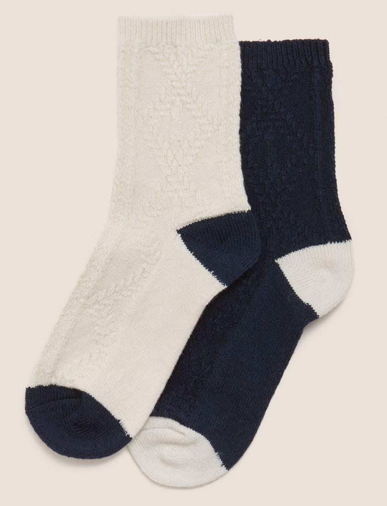 Kadın Lacivert 2'li Yün Karışımlı Termal Çorap Seti