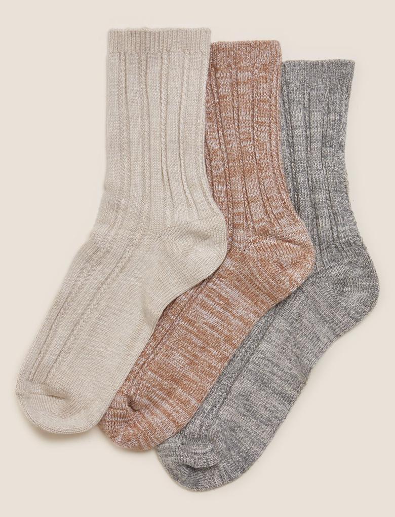 Kadın Bej 3'lü Sumptuously Soft™ Termal Çorap Seti