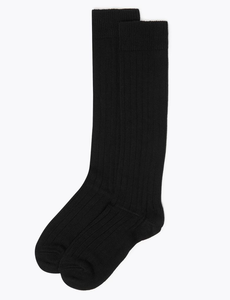 Kadın Siyah 2'li Termal Diz Altı Çorap Seti