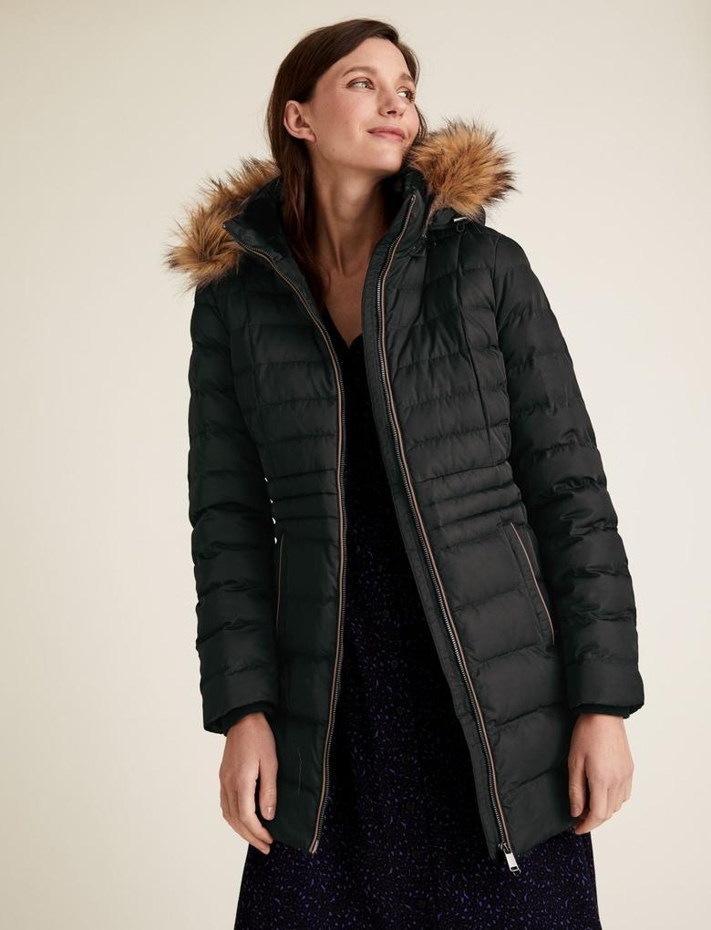 Kadın Siyah Thermowarmth™ Uzun Pufa Mont