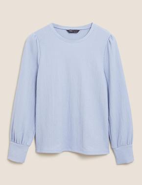 Kadın Mavi Yuvarlak Yaka Bluz
