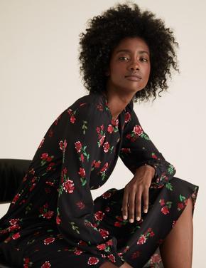 Kadın Siyah Çiçek Desenli Waisted Elbise