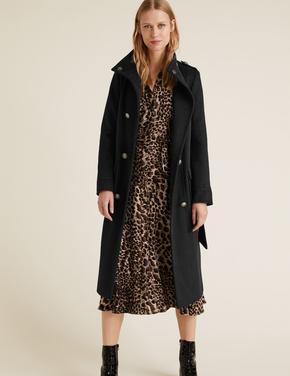Kadın Kahverengi Leopar Desenli Uzun Kollu Elbise
