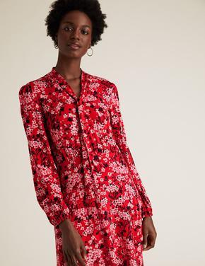 Kadın Siyah Çiçek Desenli Uzun Kollu Midi Elbise