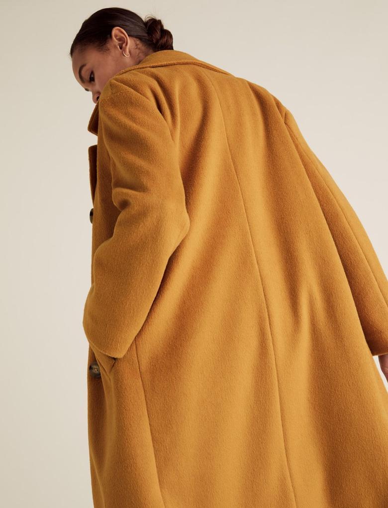 Kadın Sarı Çift Düğmeli Yün Karışımlı Kaban