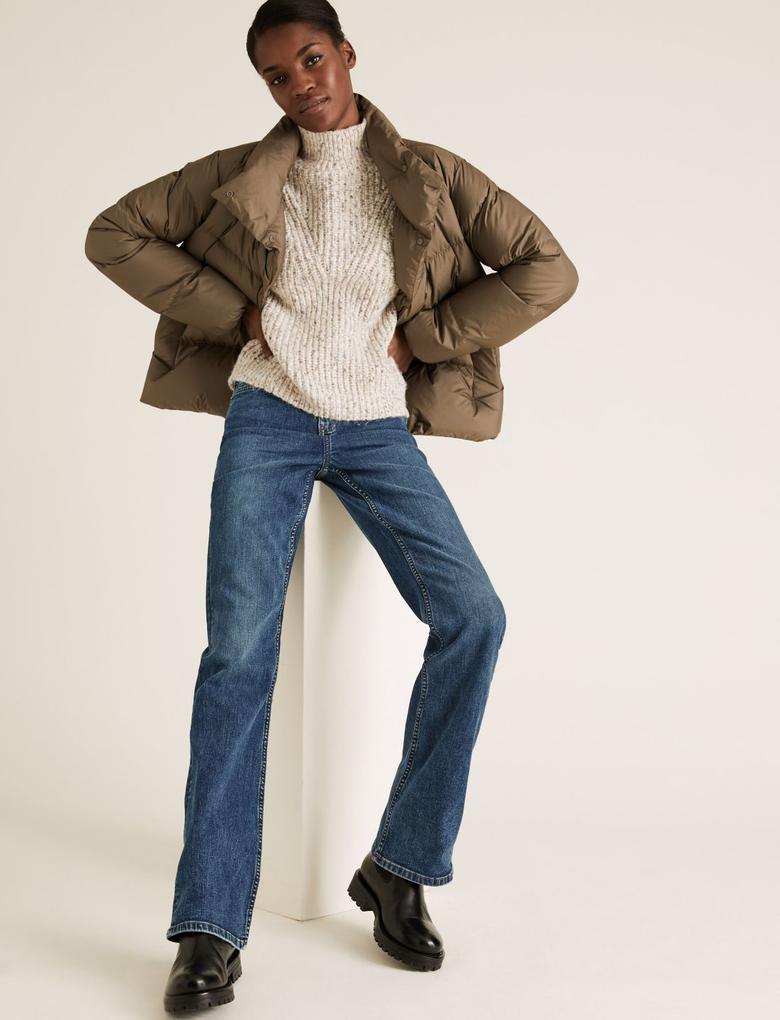 Kadın Lacivert Bootcut Streç Jean Pantolon