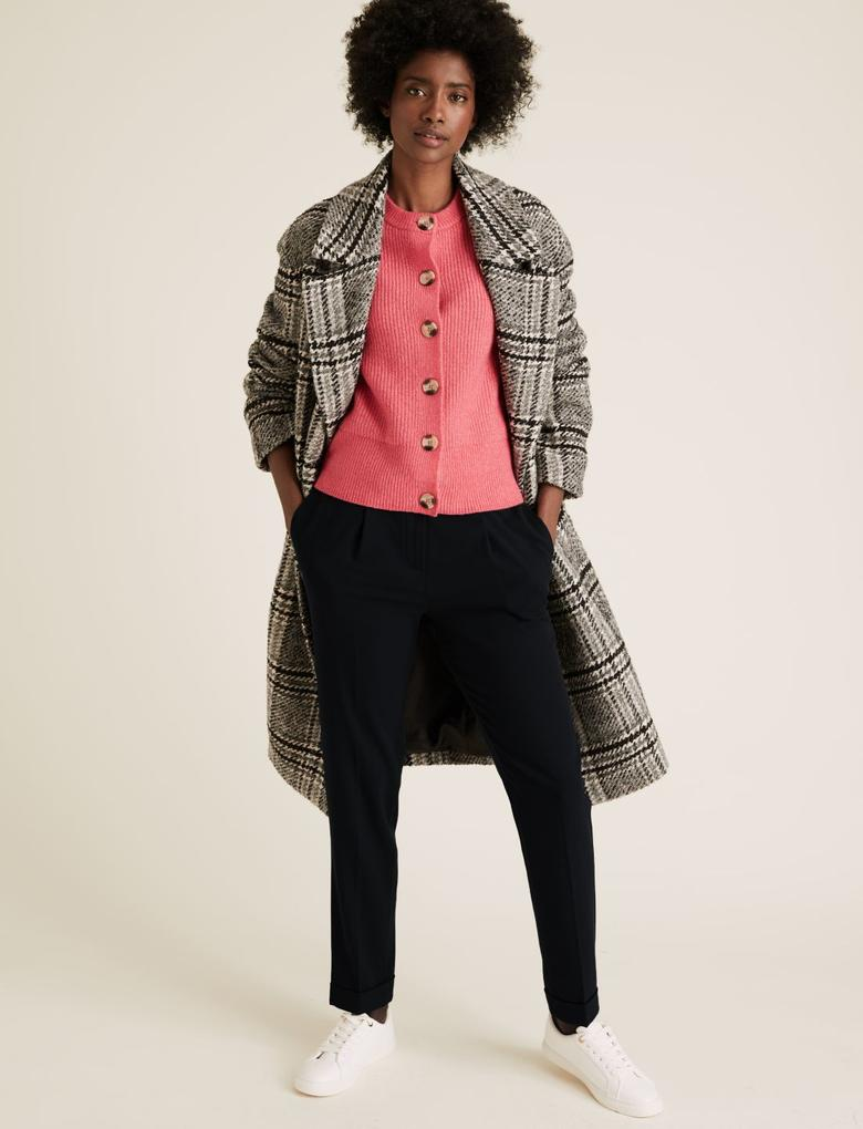 Kadın Lacivert Tapered Ankle Grazer Pantolon