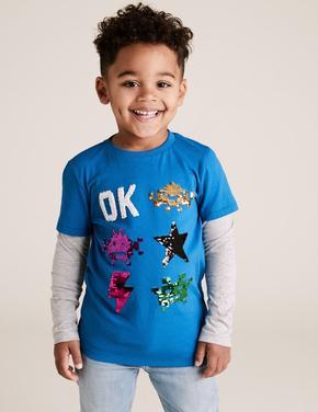 Erkek Çocuk Mavi Saf Pamuklu Uzun Kollu T-Shirt