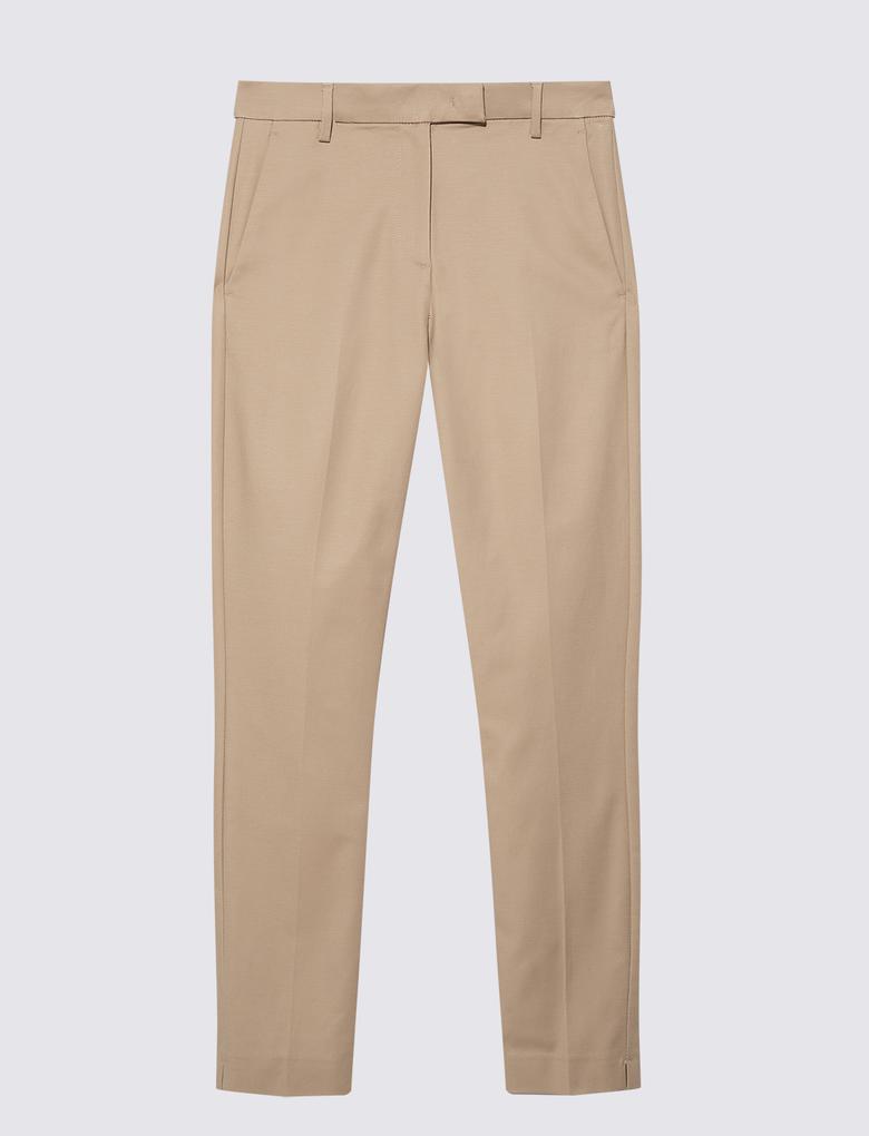 Kadın Kahverengi Pamuklu Slim Leg Pantolon