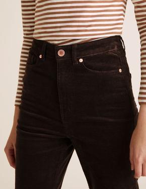 Kadın Kahverengi Kadife Straight Leg Pantolon