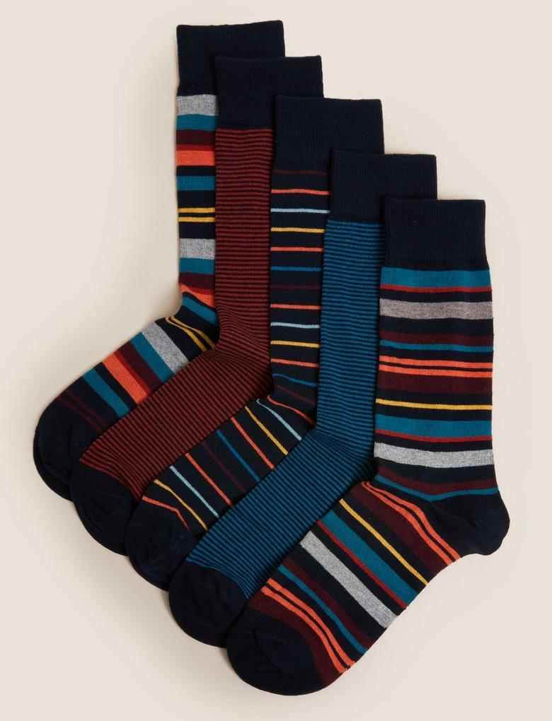 Erkek Multi Renk 5'li Cool & Fresh™ Çizgili Çorap Seti