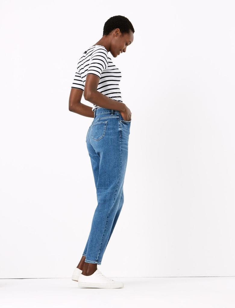 Kadın Lacivert Yüksek Bel Mom Jean Pantolon