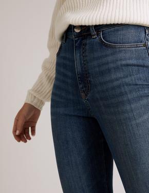 Kadın Mavi Yüksek Bel Flared Jean Pantolon