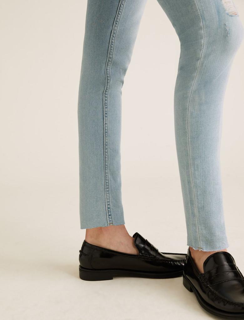 Kadın Mavi Yüksek Bel Jean Pantolon