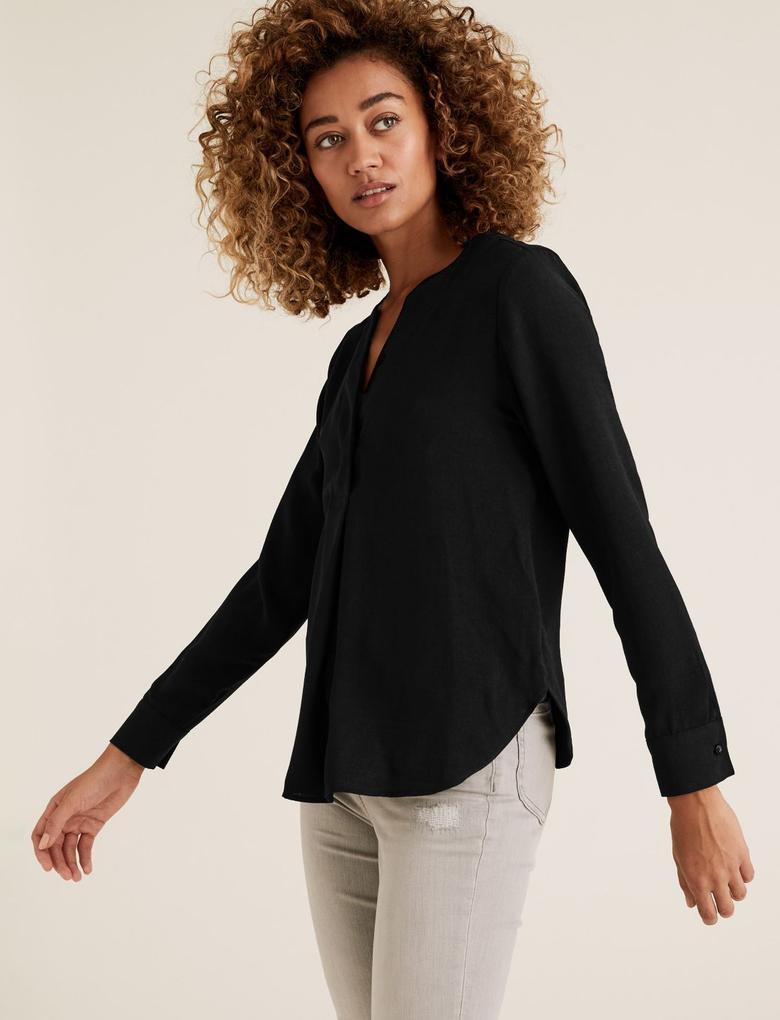 Kadın Siyah Uzun Kollu Popover Bluz