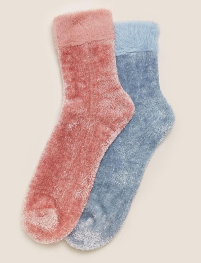 Kadın Pembe 2'li Kadife Çorap Seti