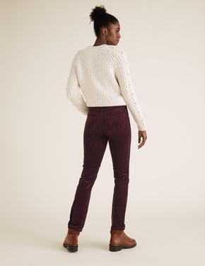 Kadın Bordo Kadife Straight Leg Pantolon