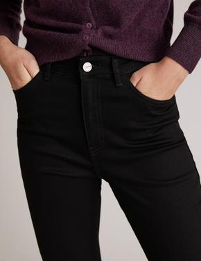 Siyah Yüksek Bel Flared Jean Pantolon