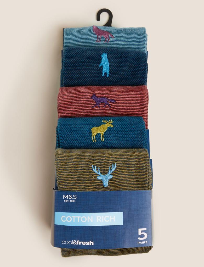 Erkek Multi Renk 5'li Cool & Fresh™ Çorap Seti