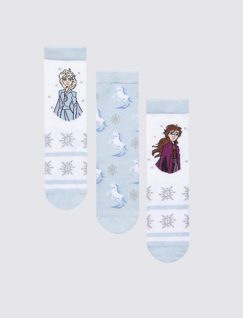 Çocuk Beyaz 3'lü Disney Frozen™ Çorap Seti