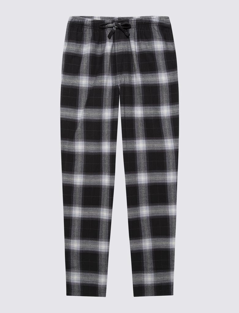 Erkek Siyah Pamuklu Ekose Pijama Takımı