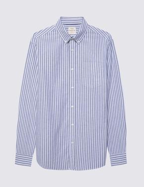 Erkek Lacivert Saf Pamuklu Çizgili Oxford Gömlek