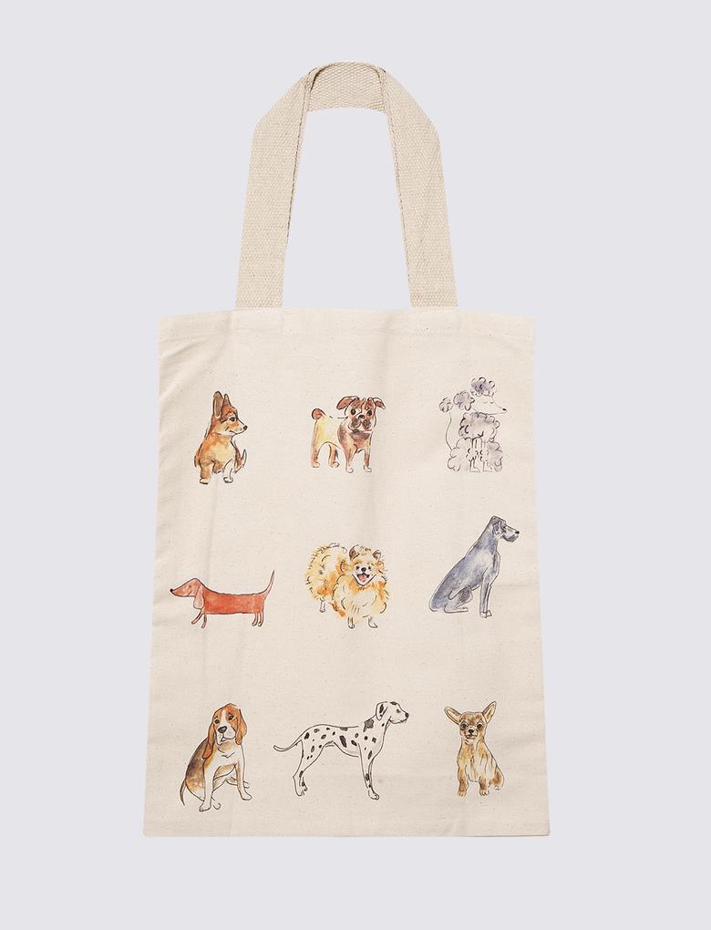 Renksiz Köpek Desenli Bez Çanta