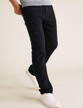 Lacivert Regular Fit Italian Moleskin Pantolon