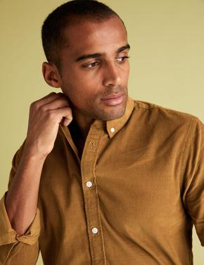 Erkek Kahverengi Saf Pamuklu Gömlek