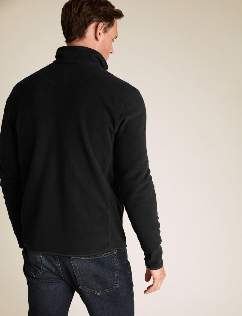 Siyah Fermuarlı Polar Sweatshirt