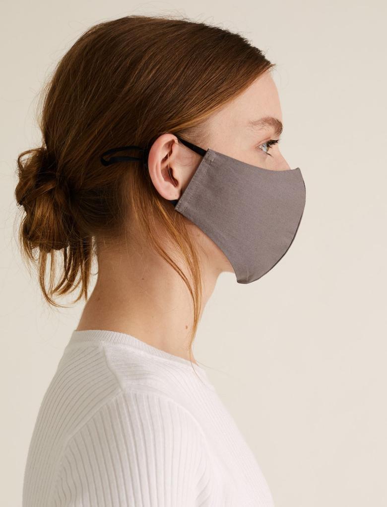 Ev Bej 5'li Yıkanabilir Yetişkin Yüz Maskesi
